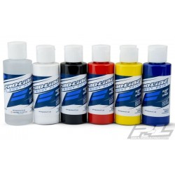 Pro-Line RC Body Paint Primary Color Set (6 Pack) Verdünnung, Weiß, Schwarz, Rot, Gelb, Blau  (PRO6323-00)