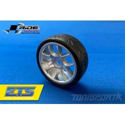 Ride 1/10 Belted Tires 24mm Pre-glued with 10 Spoke Wheel - Grey (4)